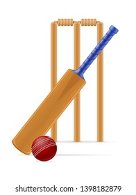 cricket bat and ball for a sports game stock vector illustration isolated on white background