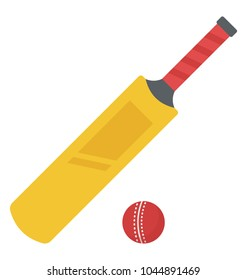 Cricket bat and red cricket ball