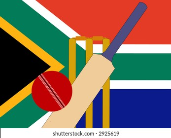 cricket bat and stumps with South African Flag
