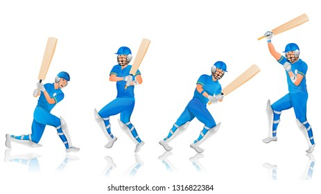 Cricket batsman character in different pose.