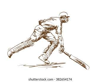 cricket batsman finishing line in vector sketch