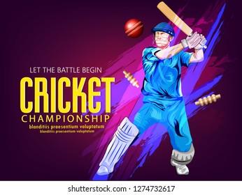 Cricket with batsman playing cricket