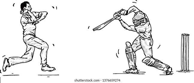 A cricket bowler and batter facing off on the field. Hand drawn vector illustration.