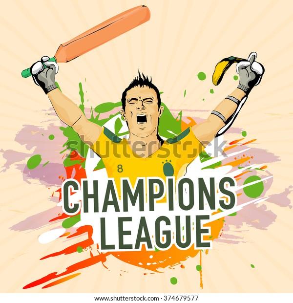 Cricket Champions League Concept Illustration Batsman Stock