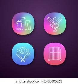Cricket championship app icons set. Sport tournament. Uniform, champion cup, defeat, sight screen. Sport contest. UI/UX user interface. Web or mobile applications. Vector isolated illustrations