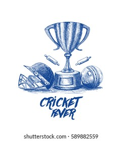 Cricket championship with ball wicket freehand sketch graphic design, vector illustration