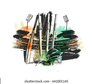 Cricket championship with ball wicket in Cricket stadium freehand sketch graphic design, vector illustration