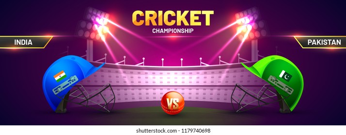 Cricket championship banner with match between India and Pakistan with cricket helmets kept as facing off and cricket ball on stadium background.