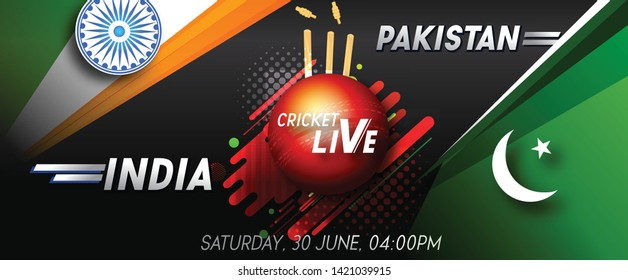 Cricket championship banner with match between India and Pakistan with cricket background. - Vector