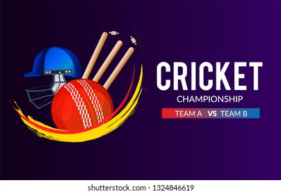 Cricket Championship banner or poster, header design with wicket stumps, helmet,ball - Vector