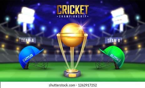 Cricket Championship banner with winning golden trophy and competitive team helmets on night stadium background.