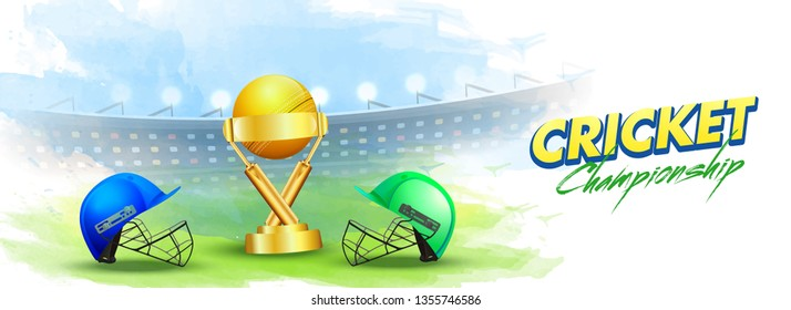 Cricket championship concept India vs Pakistan match header or banner with cricket attire helmets of respective country and winning trophy on stadium background.