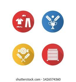 Cricket championship flat design long shadow glyph icons set. Sport tournament. Uniform, champion cup, defeat, sight screen. League competition. Sport contest. Vector silhouette illustration
