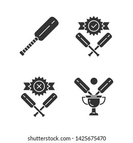 Cricket championship glyph icons set. Sport tournament. Bat, champion cup, win, defeat. Club battle. League competition. Bat and ball team game. Silhouette symbols. Vector isolated illustration