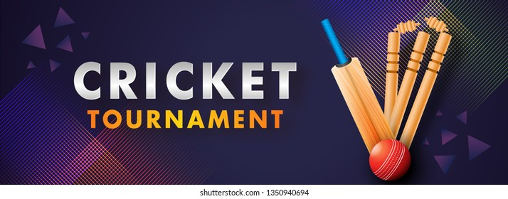 Cricket Championship header or banner with close-up look of a stumps, bat and ball.