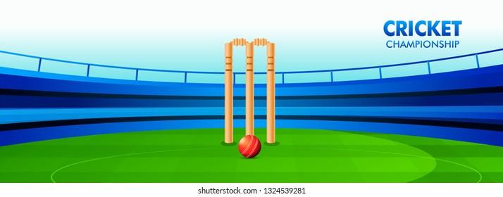 Cricket championship header or banner design with illustration of wicket stumps on cricket stadium background.