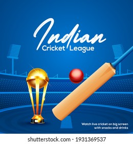 Cricket championship league concept with cricket bat, ball and winning cup trophy poster or banner on blue cricket stadium background