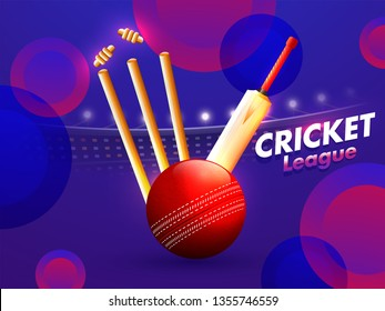 Cricket championship league with illustration of realistic red glossy ball, bat and stumps on abstract purple background.
