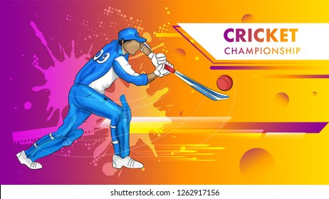 Cricket championship poster with batsman hitting the ball on colorful shiny background.