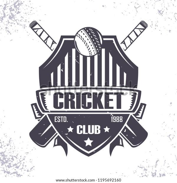 Cricket Club Badge Logo Design Emblem Stock Vector Royalty Free 1195692160