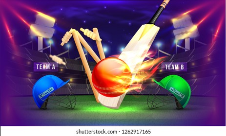 Cricket competition poster with illustration of cricket attire helmets, bats, wickets and ball in fire on night stadium background.