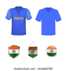 Cricket cup 2019. Set of polo t-shirts and flags of the national team of India.