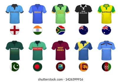 Cricket cup. Set of polo t-shirts and flags of the national team.