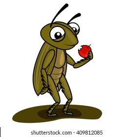 cricket eating apple