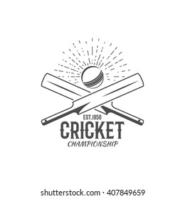 Cricket emblem and design elements. Sports fun symbols with cricketer equipment - bats, ball. For web design, tee design or print on t-shirt. Monochrome.