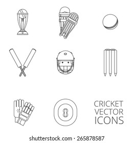 Cricket equipment icons set with keeping gloves and winner trophy sketch abstract black outlined isolated vector illustration
