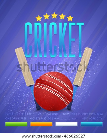 cricket event poster template vector background stock vector