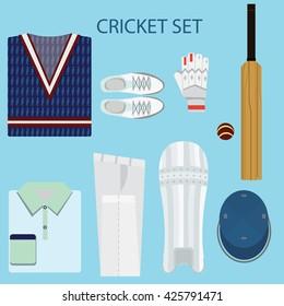 Cricket fashion set vector.