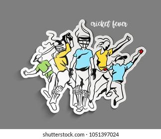 Cricket Fever Freehand Sketch Graphic design, Peel off Sticker Vector illustration