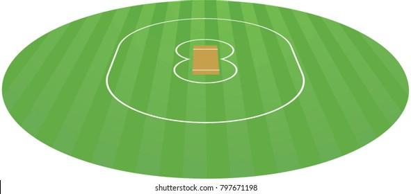 Cricket field. vector illustration