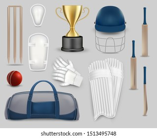 Cricket game set, vector isolated illustration. Cricket player equipment and protective gear. Realistic bat, gloves, helmet, betting leg guards or pads, ball, stump, cup, sport bag.
