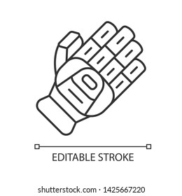 Cricket glove linear icon. Batting glove. Body protection for batsman. Cricketer uniform. Protective gear. Thin line illustration. Contour symbol. Vector isolated outline drawing. Editable stroke