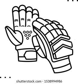 Cricket Gloves line art icon.  Black  aesthetic contour.