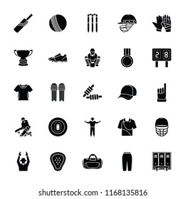 Cricket Glyph Vector Icons Set