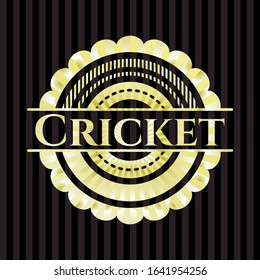 Cricket gold shiny emblem. Vector Illustration. Detailed.