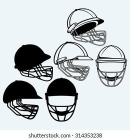 Cricket helmet. Isolated on blue background