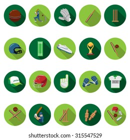 Cricket icons set in flat design with long shadow. Illustration EPS10