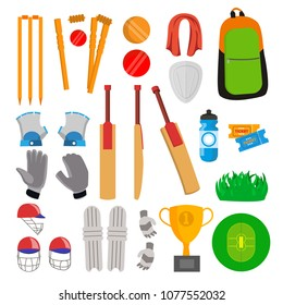 Cricket Icons Set Vector. Cricketer Accessories. Bat, Gloves, Helmet, Ball, Cup, Playing Field. Isolated Flat Cartoon Illustration
