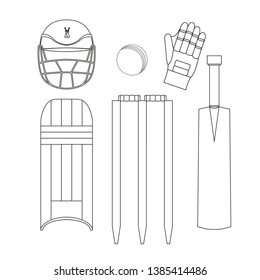 Cricket Icons Set Vector. Cricketer Accessories. Bat, Gloves, Helmet, Ball. Isolated Flat black and white Illustration.