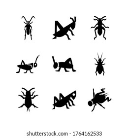 Cricket insect icon or logo isolated sign symbol vector illustration - high quality black style vector icons