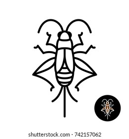 Cricket insect stylized logo. Grashopper relative bug linear style icon. Black stroke top view design.