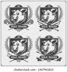 Cricket, lacrosse, baseball and hockey logos and labels. Sport club emblems with wild boar. Print design for t-shirt.