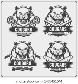 Cricket, lacrosse, baseball and hockey logos and labels. Sport club emblems with cougars. Print design for t-shirt.