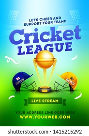 Cricket League between two team, Cricket match poster or flyer design. Cricket helmet and ball on green and blue background with unique cricket sport font.