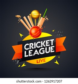 Cricket league template or poster design with cricket batt, ball and stumps on black background.