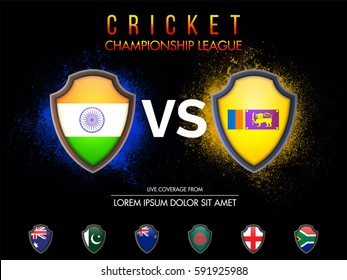 Cricket Match Participating Countries Flag Shields with India Vs Sri-Lanka highlighted on abstract background.